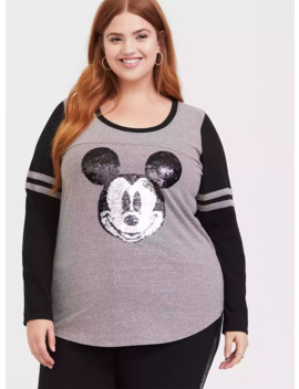 Disney Holiday Mickey Mouse Flip Sequin Grey Raglan Top by Torrid