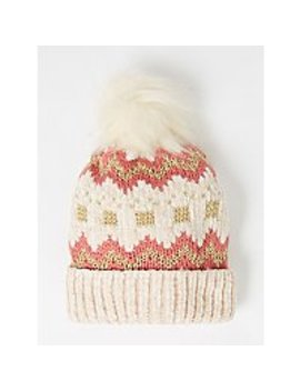 Cream Chenille Fair Isle Bobble Hat by Asda