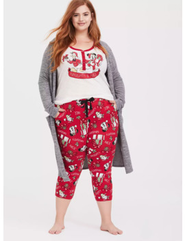 Disney Holiday Mickey Mouse & Donald Duck Red Drawstring Crop Sleep Pant by Torrid