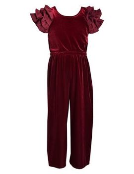 Little Girl's Ruffled Velvet Jumpsuit by Iris & Ivy
