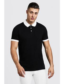 Contrast Panel Polo by Boohoo