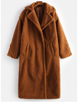 Fluffy Faux Fur Turn Down Collar Coat   Brown S by Zaful