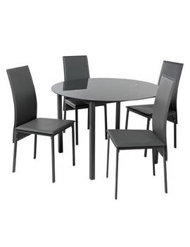 Argos Home Lido Glass Round Dining Table & 4 Grey Chairs922/4557 by Argos