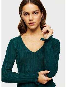 Petite Green V Neck Knitted Jumper by Miss Selfridge