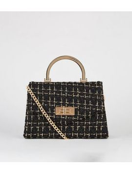 Black Bouclé Chain Shoulder Bag by New Look