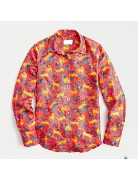 Collection Silk Twill Button Up Shirt In Jungle Cat Floral Print by J.Crew