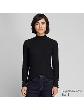 Women Ribbed High Neck Long Sleeved T Shirt (14) by Uniqlo