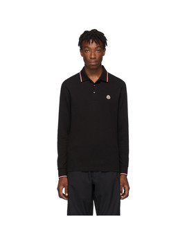 Black Logo Long Sleeve Polo by Moncler