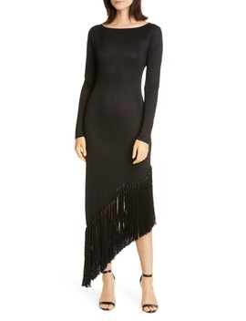 Sharona Asymmetrical Fringe Long Sleeve Midi Dress by Cult Gaia