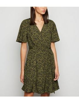Khaki Floral Ruffle Trim Wrap Dress by New Look