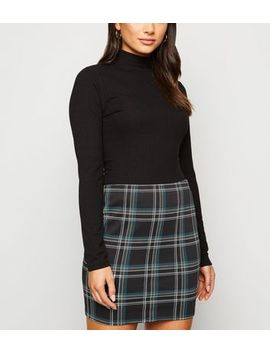 Petite Black Check Mini Tube Skirt by New Look