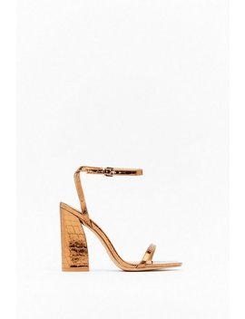 She's A Croc Star Strappy Faux Leather Heels by Nasty Gal