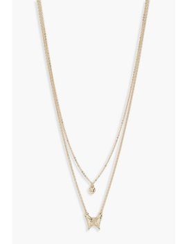 Butterfly & Heart Double Chain Necklace by Boohoo