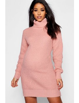 Maternity Soft Knit Roll Neck Sweater Dress by Boohoo