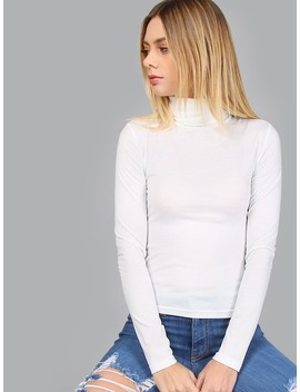 White Turtleneck Long Sleeve Slim Fit T Shirt by Romwe