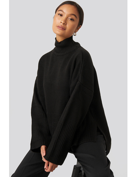 Vertical Neck Sweater Black by Trendyol