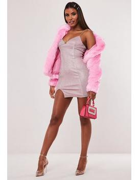 Hayden Williams X Missguided Pink Glitter Split Front Chain Mini Dress by Missguided