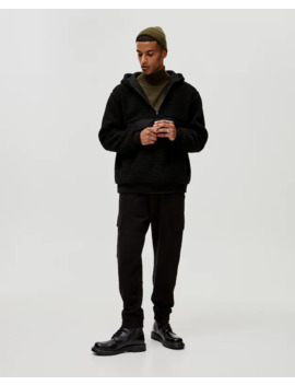 Hoodie In Contrast Faux Shearling by Pull & Bear
