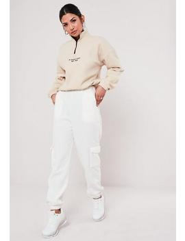 Ivory Fleece Joggers by Missguided