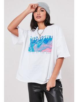 White Midnight Graphic Print T Shirt by Missguided