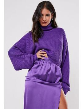 Premium Purple Cropped Roll Neck Jumper by Missguided