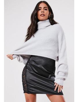 Grey Cropped Roll Neck Jumper by Missguided