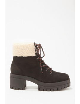 Faux Suede Trim Combat Boots by Forever 21