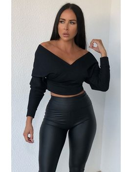 Black Ribbed Off The Shoulder Crop Top   Kourt by Femme Luxe