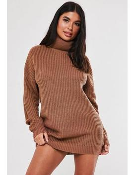 Tall Mocha Basic Roll Neck Jumper Dress by Missguided