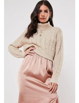 Stone Roll Neck Crop Cable Knit Jumper by Missguided