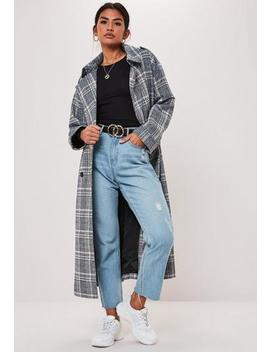 Blue Check Extreme Oversized Trench Coat by Missguided