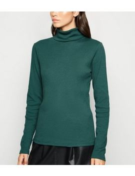 Dark Green Ribbed Long Sleeve Roll Neck Top by New Look