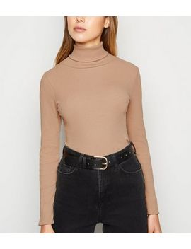 Stone Ribbed Long Sleeve Roll Neck Top by New Look