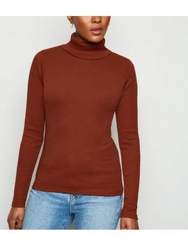 Rust Ribbed Long Sleeve Roll Neck Top by New Look