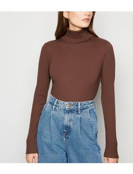 Dark Brown Ribbed Long Sleeve Roll Neck Top by New Look