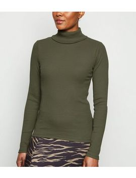 Khaki Ribbed Long Sleeve Roll Neck Top by New Look