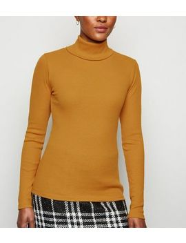 Mustard Ribbed Long Sleeve Roll Neck Top by New Look