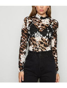 Black Floral Lace Embroidered Mesh Top by New Look