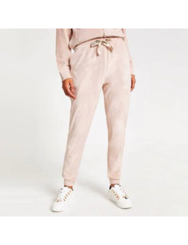 Pink Velour Drawstring Joggers by River Island