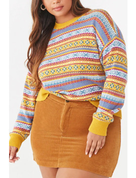 Plus Size Fair Isle Print Sweater by Forever 21