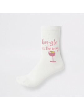 Cream 'gingle All The Way' Ankle Socks by River Island