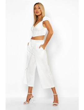 Contrast Stitch Lace Up Culottes by Boohoo