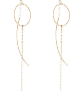 Yellow Gold Wire Ring &Amp; Chain Earrings by Hirotaka