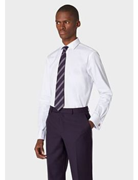 Men's Tailored Fit White Shirt With 'signature Stripe' Double Cuff by Paul Smith