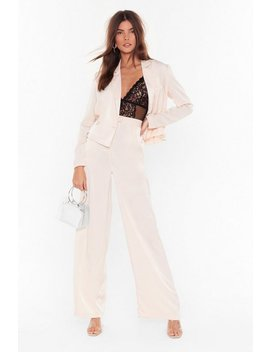 Satin Wide Leg Trouser Co Ord by Nasty Gal