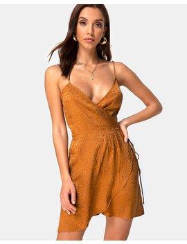 Furiosa Wrap Dress In Gold Satin Cheetah By Motel by Motel