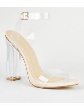 Cream Patent Clear Strap Block Heels by New Look