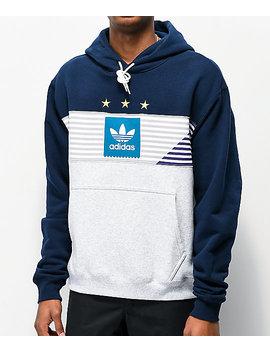 Adidas Elevated Tri Navy & Grey Hoodie by Adidas