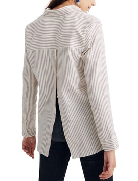 Stripe Button Back Flannel Classic Ex Boyfriend Shirt by Madewell