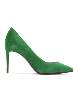 Green Velour Suede Kate 85 Heels by Christian Louboutin